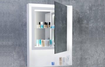 Огледало ZARIA D1 60x80 с бяла метална рамка, LED осветление