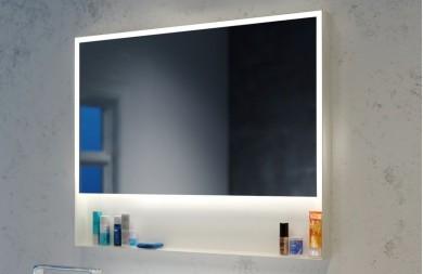 Огледало ZARIA 100 с бяла метална рамка с полица, LED осветление и нагревател