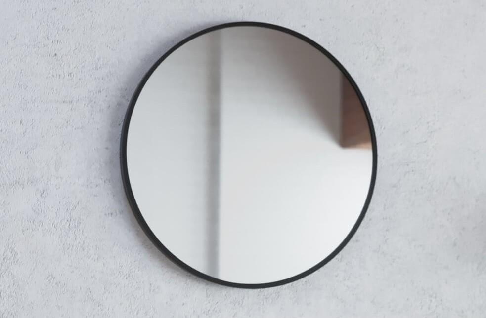 Огледало RONDA  Ф70 с черна метална рамка и нагревател