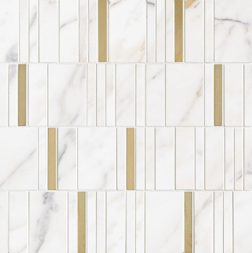 Декор Allmarble Wall Golden White Mosaico Barcode Lux 40x40
