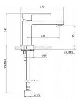 Смесител за мивка Project Line Square черен мат - Bossini