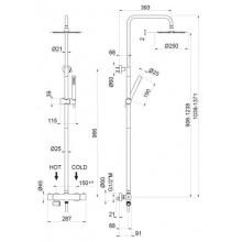 Душ колона с термостатен смесител Inox - VEMA
