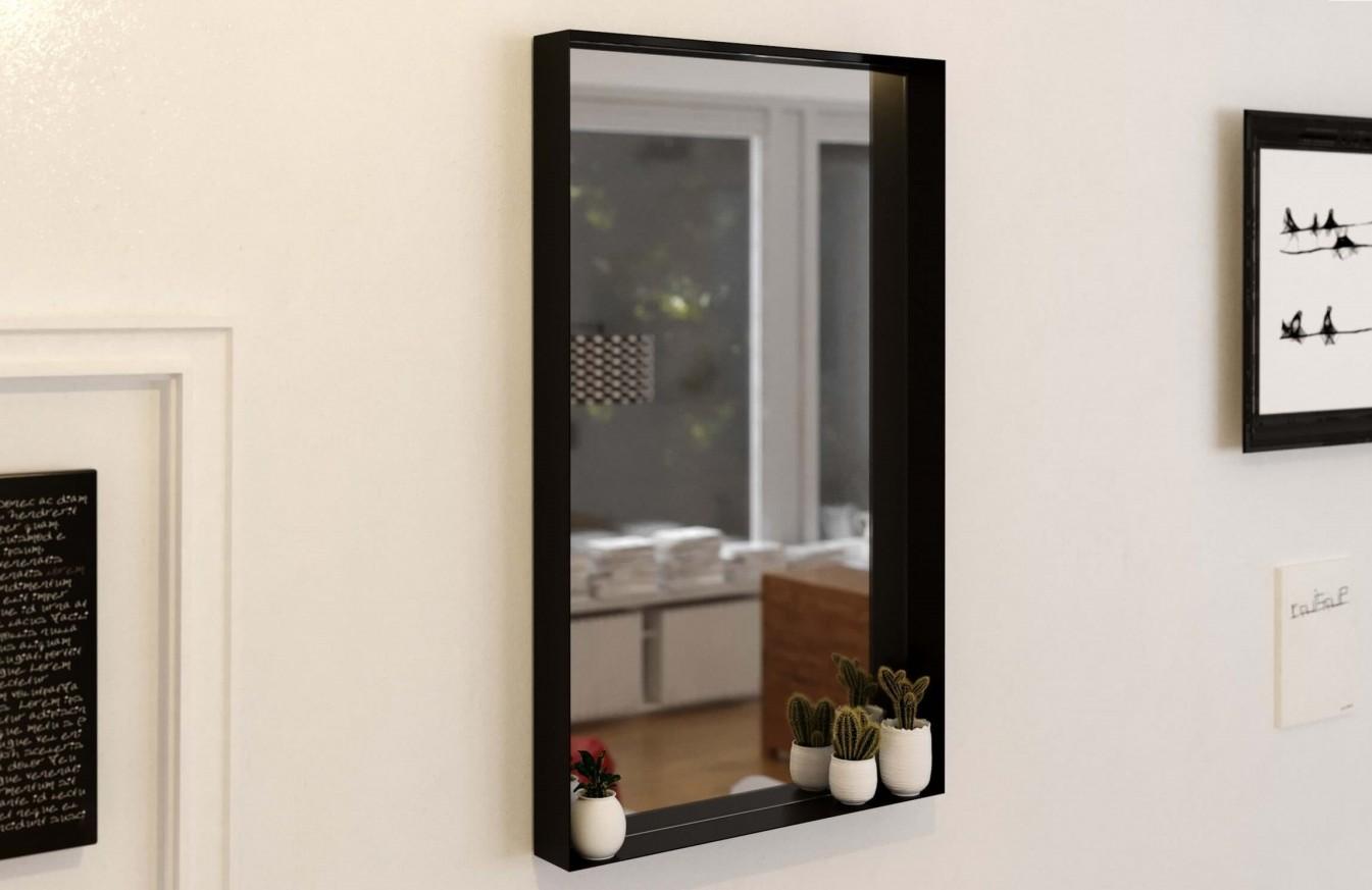 Огледало VICTORIA 60x80 с черна метална рамка с полица
