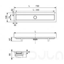 Линеен сифон модел LINUS комплект с решетка и рогов сифон - 70 cm