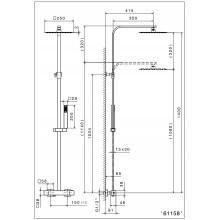 Схема на душ система термостатна черен мат.