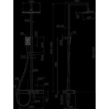 Душ колона квадратна с термостатен смесител черен мат и хром - Vema