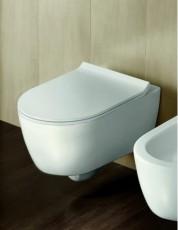 Окачена тоалетна чиния FUSION БЯЛ МАТ БЕЗ РЪБОВЕ с капак плавно затваряне