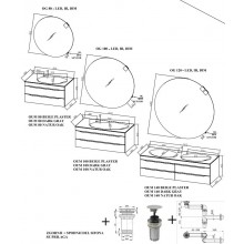Окачен шкаф 80см с плот с интегрирана мивка MALAYA