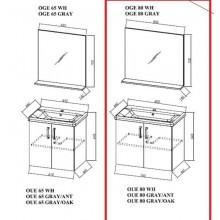 Окачен шкаф 80см с мивка EVELIN OUE80IIGRAY/OAK