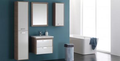 Окачен шкаф 62см с мивка и огледало SARA