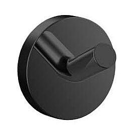 Черни аксесоари за баня: единична закачалка ROUND - черен мат