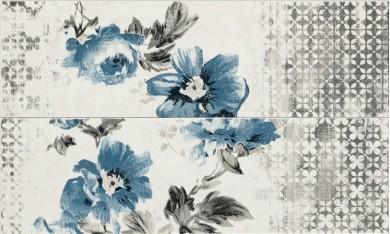 Декор Chroma Listello Flower White/Grey/Light Blue/Blue 11,5x38
