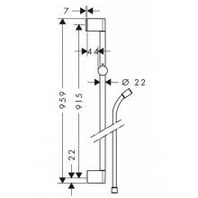Метално тръбно окачване със силиконов шлаух  Unica Croma - HANSGROHE