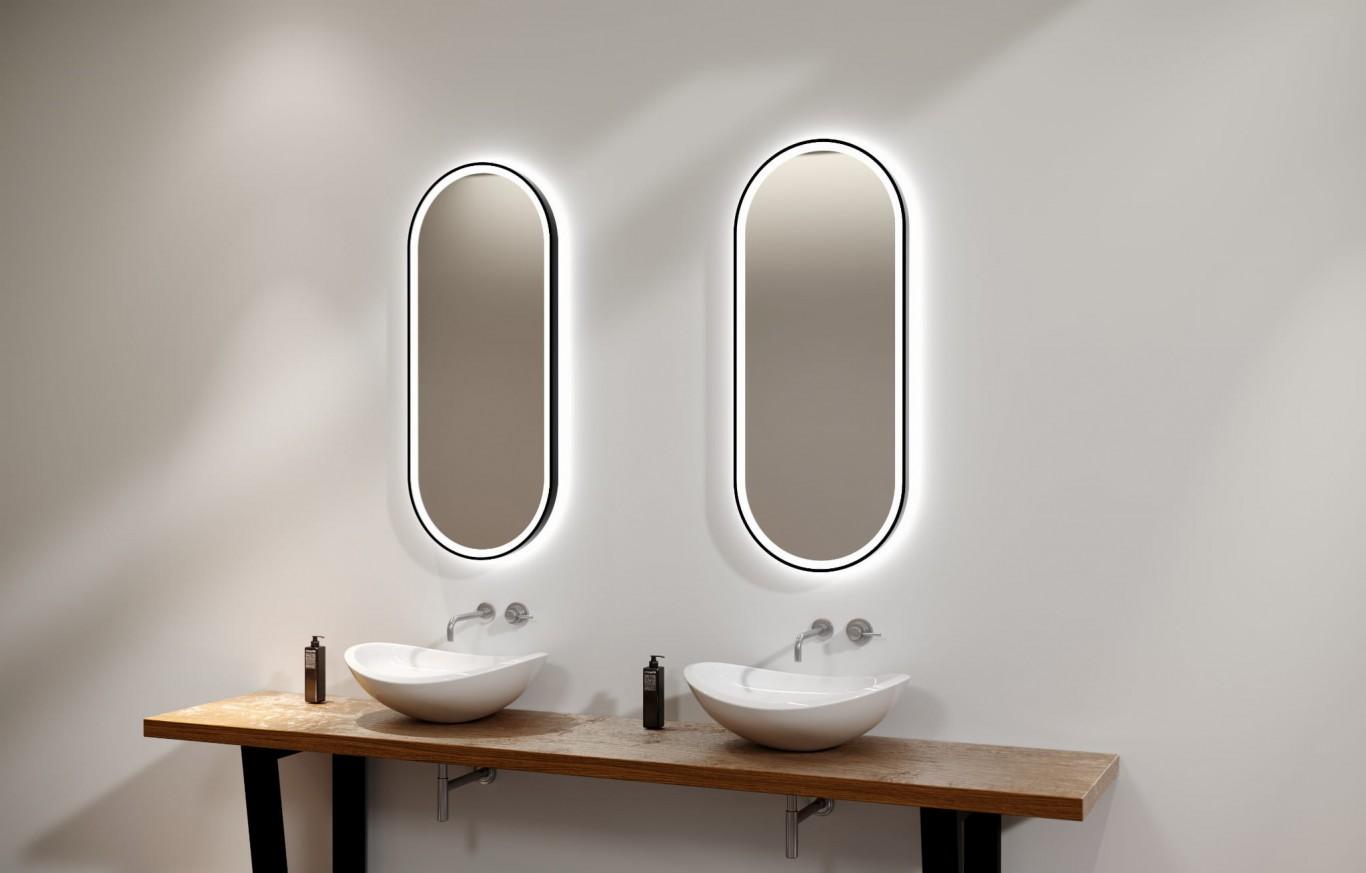 Огледало  LAURA PLUS 60x100 с черна метална рамка с LED осветление с тъч и нагревател