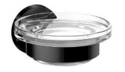 Черни аксесоари за баня: окачена сапунерка ROUND - черен мат