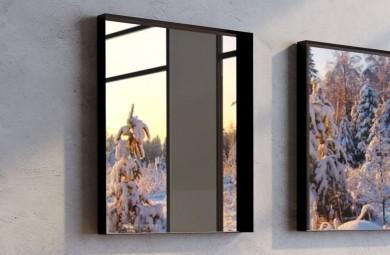 Огледало VICTORIA 80x80 с черна метална рамка с полица