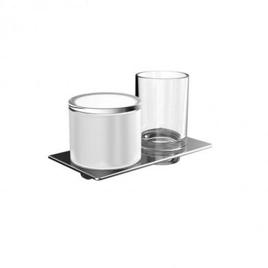 Аксесоари за баня хром: окачен дозатор за течен сапун и чашка ART - хром