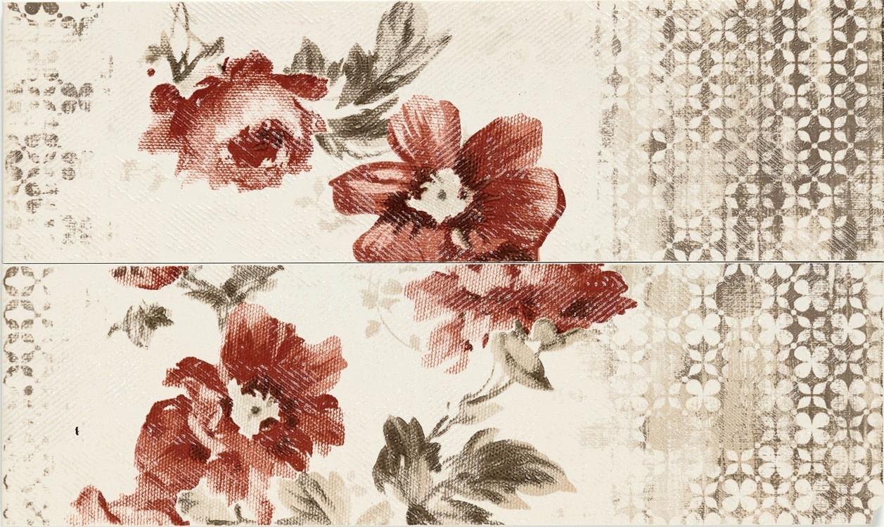 Декор Chroma Listello Flower Ivory/Coral 11,5х38