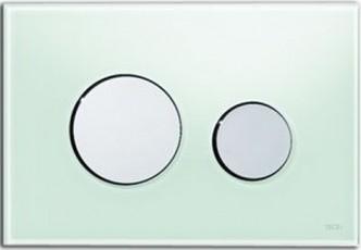 Активатор LOOP GLASS с пластмасови бутони лъскав хром и стъклен панел от млечно зелено стъкло