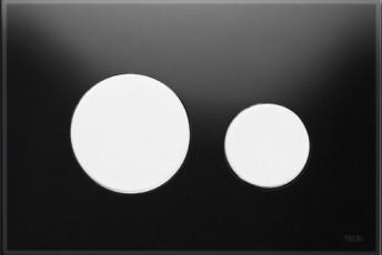Активатор LOOP GLASS с пластмасови бутони бели и стъклен панел от черно стъкло