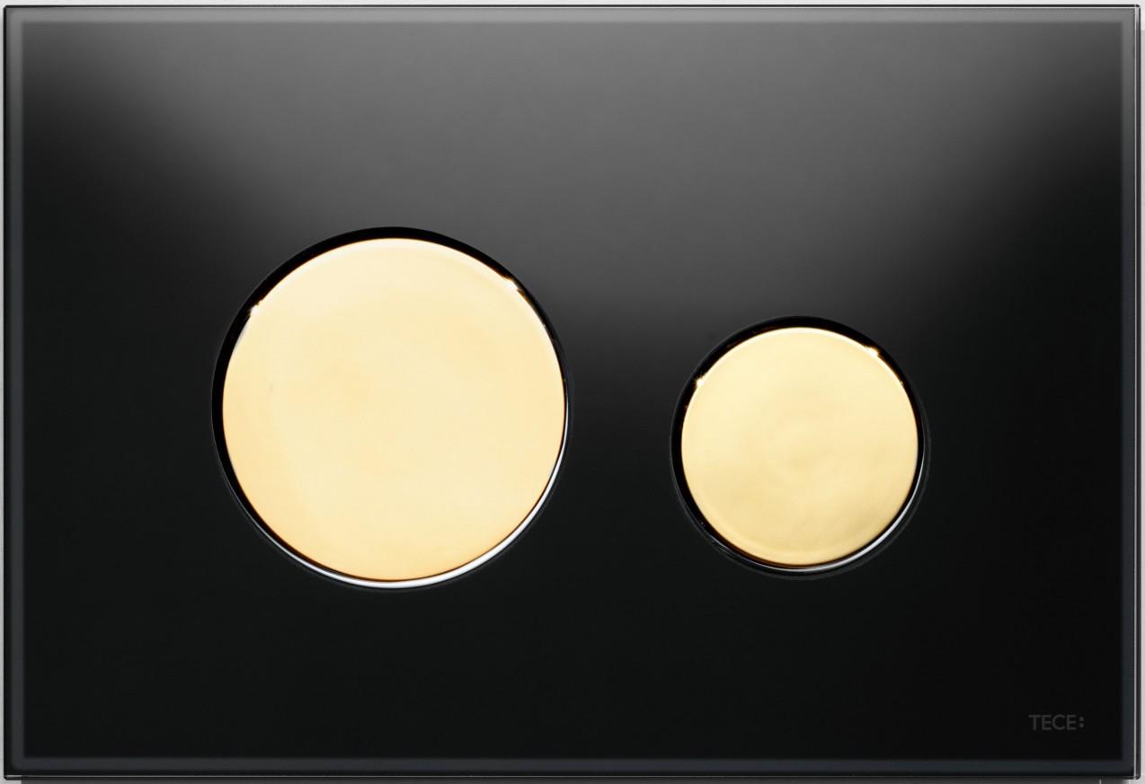 Активатор LOOP GLASS с пластмасови бутони позлатени и стъклен панел от черно стъкло