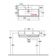 Мивка T-EDGE 71x37