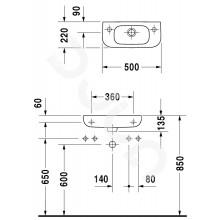 Мивка D-CODE дясна 50x22