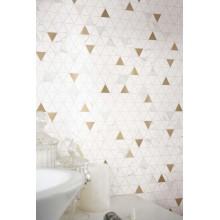 Декор Allmarble wall golden white satin mosaico tria 40x43