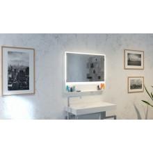 Огледало ZARIA 100х80 с бяла метална рамка с полица, LED осветление и нагревател