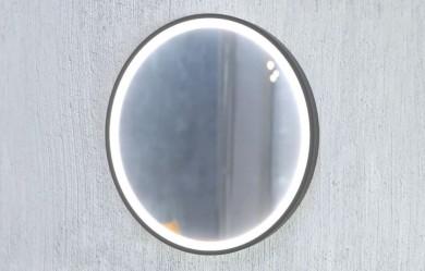 Огледало LUPE Ф70 с черна метална рамка, LED осветление с тъч и нагревател