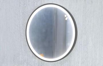 Огледало LUPE 80 с черна метална рамка, LED осветление и нагревател