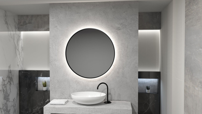 Огледало RONDA PLUS Ф80 с черна метална рамка с LED осветление с тъч и нагревател