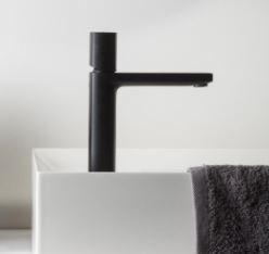 Черен смесител за мивка Haptic, черен мат - Ritmonio