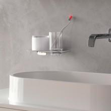Окачен дозатор за течен сапун и чашка ART - хром