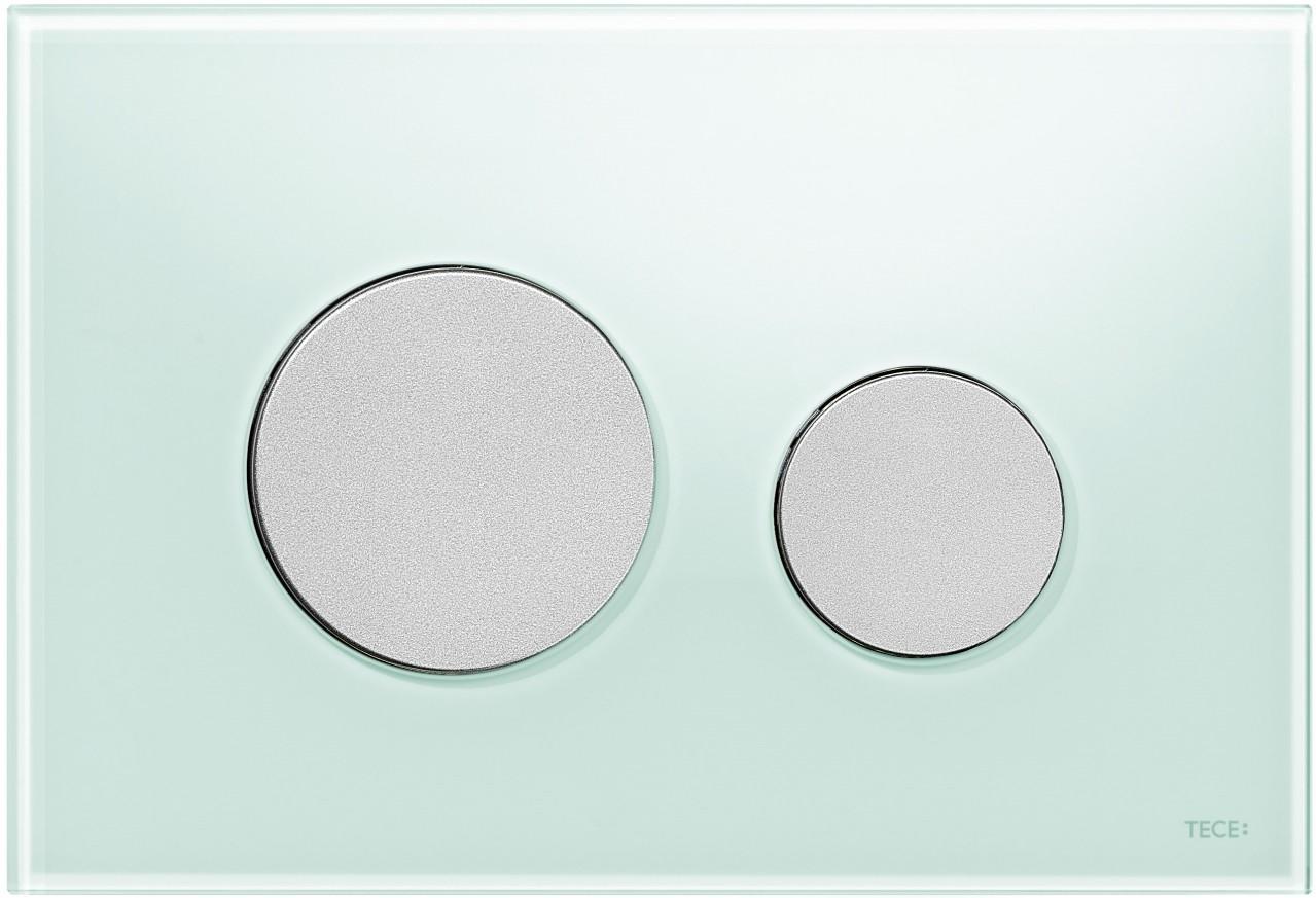 Активатор LOOP GLASS с пластмасови бутони матиран хром и стъклен панел от млечно зелено стъкло