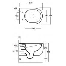 Окачена тоалетна чиния MILADY Black Mat БЕЗ РЪБОВЕ с капак плавно затваряне