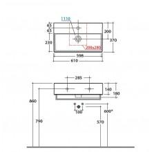 Мивка T-EDGE 61x37