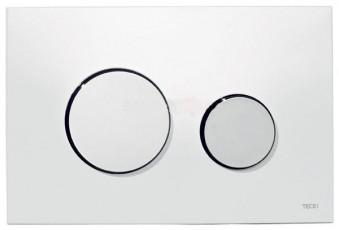 Активатор LOOP GLASS с пластмасови бутони лъскав хром и стъклен панел от бяло стъкло
